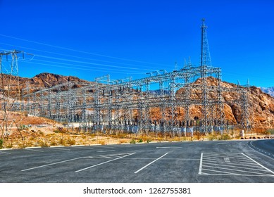 Substation and  Power Transmission Lines in american desert. USA.