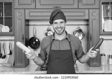 Substitute carefully. Although substitutions seem obvious they can be tricky business. Ruined dish is waste of time. Man chef substitutes marrow with zucchini. Chef smiling knows kitchen tricks.