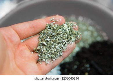 Substrate for marijuana. Close up. A mixture of earth, perlite and vermiculite. The concept of growing medical cannabis in the doore indoor. Soil for growing cannabis.