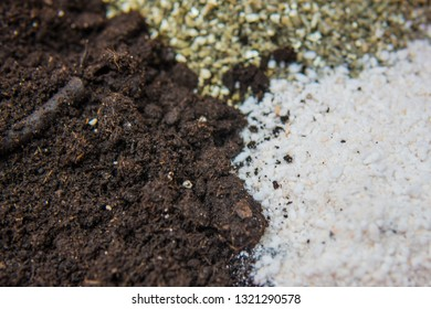Substrate for marijuana. A mixture of earth, perlite and vermiculite. The concept of growing medical cannabis in the doore indoor. Soil for growing cannabis.