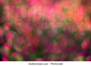 A subtle message of I Love You blends together on colorful bokeh background for that special loved one.