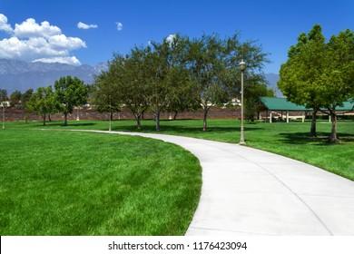 Suburan park with sidewalk in Rancho Cucamonga, California