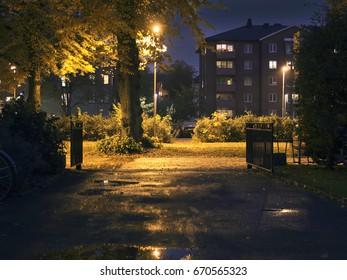 Suburban area during night in summer/autumn