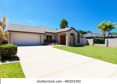 Suburban australian house front on a sunny day.
