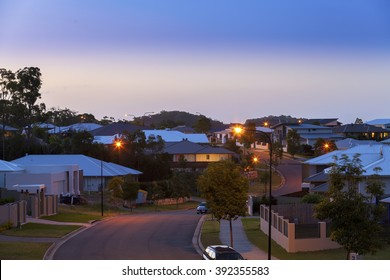 Suburban australian street at night