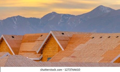 A suburban construction in Utah Valley rooftops