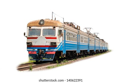 Suburban electric train on a white background