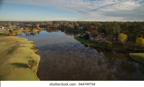 A suburban golf course lake in Cary, NC.