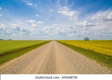 Suburban Gravel Road & Fields in Regina - Saskatchewan - Canada