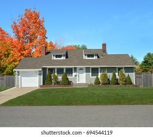 Suburban green ranch home autumn day blue sky USA