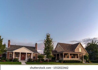 Suburban homes in American neighbourhood near sunset