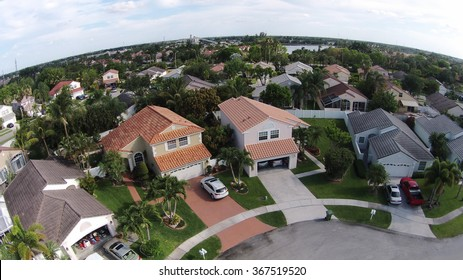 Suburban homes in Florida seen from above looking down