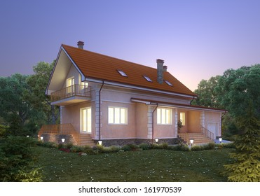 Suburban house at dusk. Cozy home exterior.