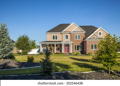 suburban house on a beautiful sunny day