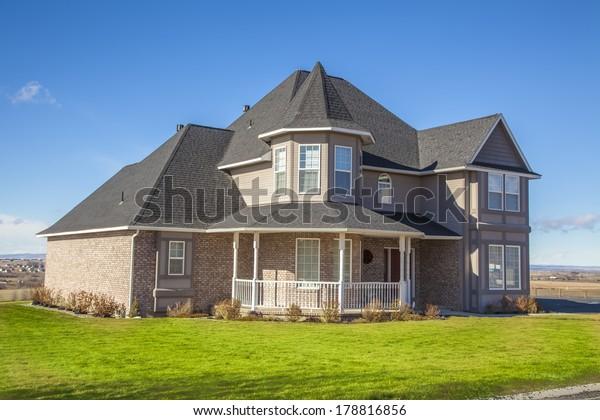suburban house on a beautiful sunny day