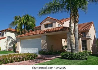 suburban house with palm trees in the front yard