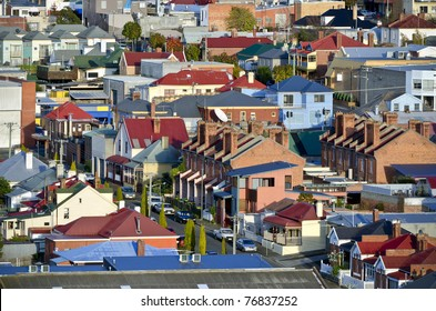 Suburban houses with a range of architectural styles, Hobart, Tasmania, Australia