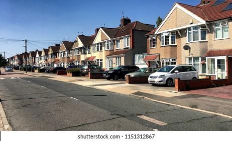 Suburban London Street, 06 August 2018, Welling, London, England, UK