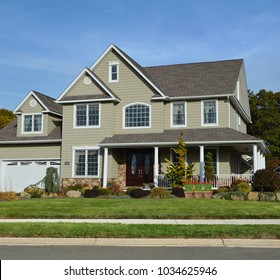 Suburban McMansion Home Blue Sky USA