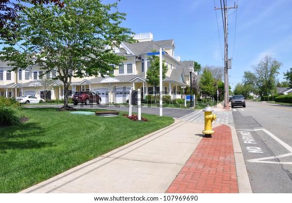 Suburban Neighborhood Sidewalk Street Sunny Blue Sky Day