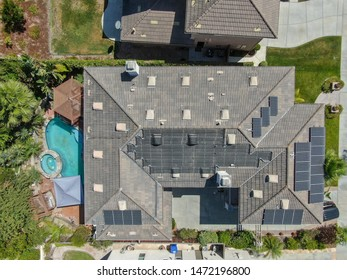 Suburban neighborhood street with big villas next to each other in Black Mountain, San Diego, California, USA. Aerial view of residential modern subdivision luxury house. 08/04/2019