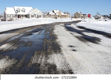 Suburban neighborhood in winter