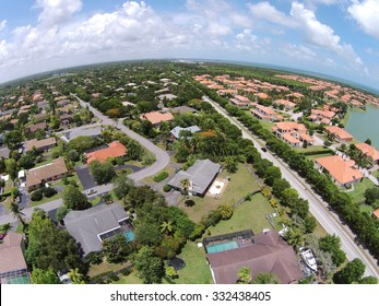 Suburban real estate in Miami, Florida seen from above
