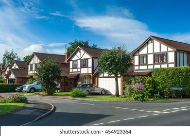 Suburban residential street with modern houses. West Midlands, England.