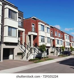 Suburban townhouses outside Toronto, Canada.