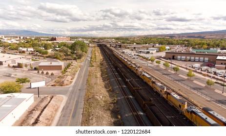 Suburban Train Yard Aerial View