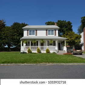 Suburban Two Story Home clear blue sky USA