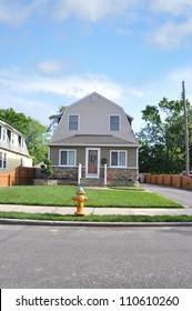 Suburban Two Story Home Fire Hydrant Residential Neighborhood Street
