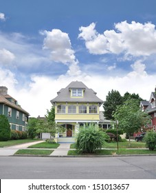 Suburban Victorian Style Home Front Yard Blue Sky Clouds