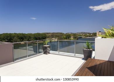 Suburban view from sunny balcony