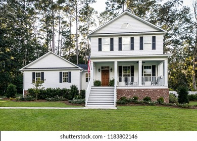 Suburban White All American Contemporary Farmhouse Two Story with Curb Appeal