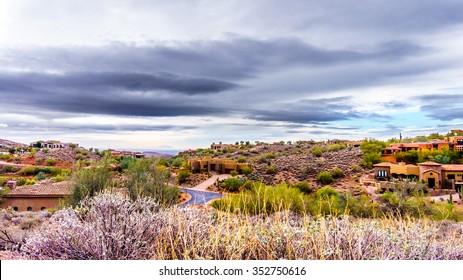 Suburbia in the desert in the suburbs of the town Fountain Hills near Phoenix Arizona