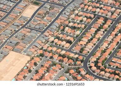 Suburbia in the USA - suburban neighborhoods in Las Vegas, Nevada.