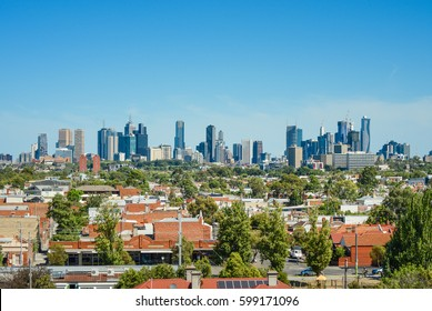 Suburbs and City view of Melbourne, Australia