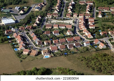 suburbs in french country aerial view