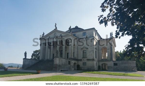 "Suburbs of Vicenza, Veneto, September 2018. View at the famous villa Palladiana ""La Rotonda""."