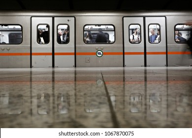 Subway car in Syntagma Metro station in Athens, Greece on Nov. 16, 2017