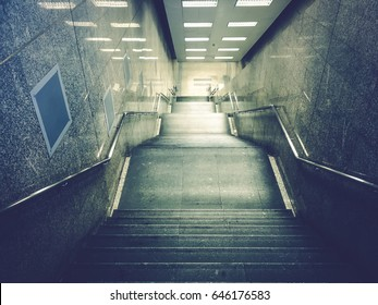 subway deep down stair with handrail by lowtone color