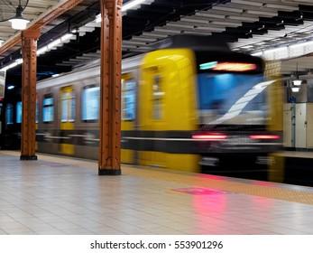 Subway enters station