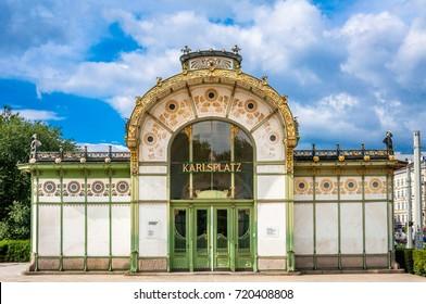 Subway entrance and Art Nouveau pavilion at the Karlsplatz in Vienna