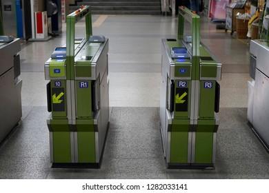 Subway entrance and exit gate machine, Seoul, Korea