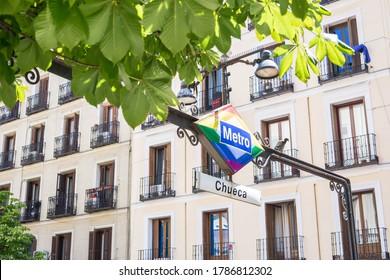 Subway entrance to an lgtb neighborhood in Madrid called Chueca.