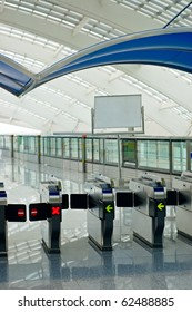 Subway gate in contemporary airport.