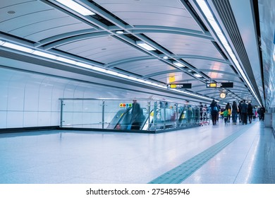 subway passage with passengers motion blur in guangzhou