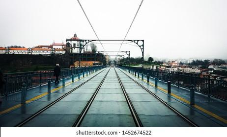Subway rails over the Luis I bridge in Oporto, Portugal