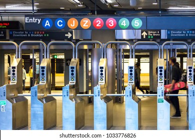 Subway station entrance in downtown Manhattan, New York City
